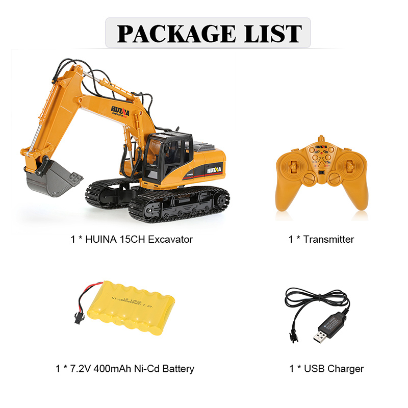 RM7263 07 original hui na toys 2 4ghz 15ch engineering electric excavator Excavator Outline at edmiracle.co