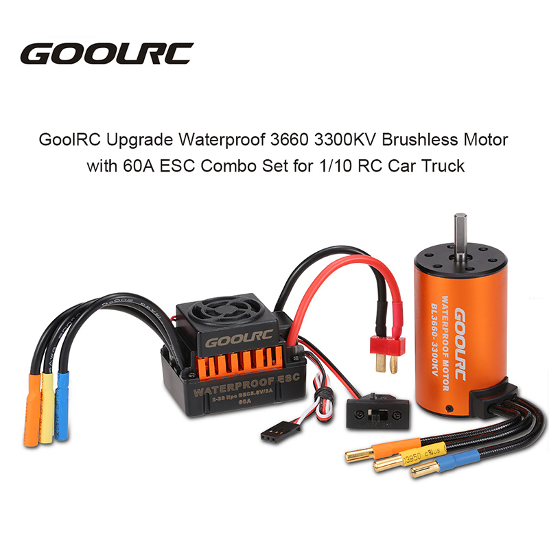 GoolRC 3660 3300KV Brushless Motor with Alloy Motor Heatsink and 60A Brushless Splash-Proof Electronic Speed Controller ESC with 6.0V//3A BEC for 1//10 RC Car Crawler Truck