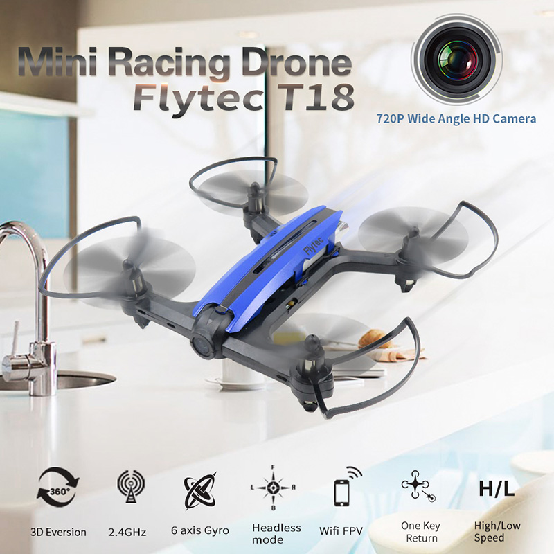 Only $41.99 for  Flytec T18 Wifi FPV 720P Wide Angle HD Camera Mini RC Racing Drone RTF Quadcopter