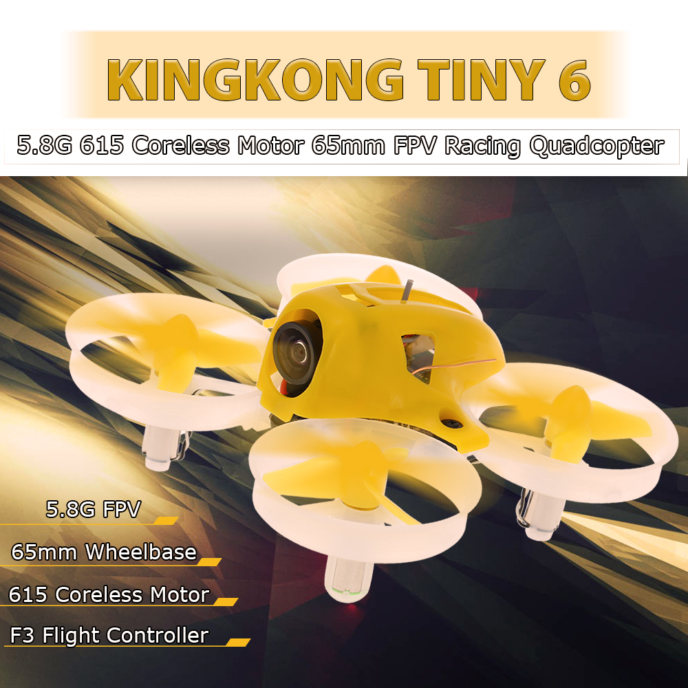 Get  $16  Off For KINGKONG TINY6 65mm 800TVL Camera 25mW Micro Indoor FPV Racing Quadcopter with DSM2 Receiver BNF with code  Only $53.99 +free shipping