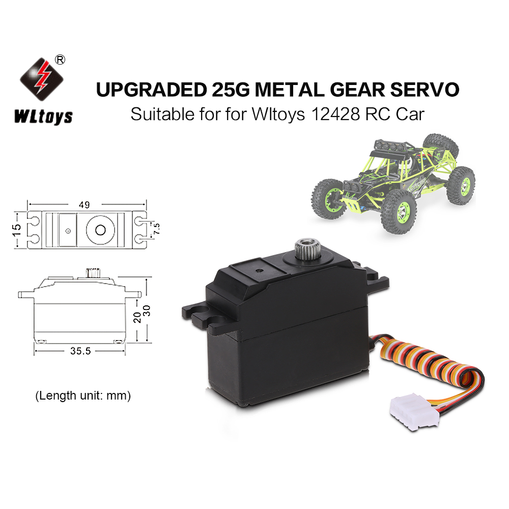 Original Wltoys Upgraded 25g Metal Gear Servo for Wltoys 12428 RC Car