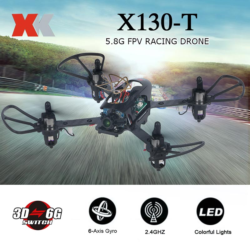 $7 OFF Original XK X130-T 5.8G FPV 3D/6G Mode  with HD Camera 2.4G 4CH Carbon Fiber Frame RTF Mini Racing Drone,free shipping $74.99