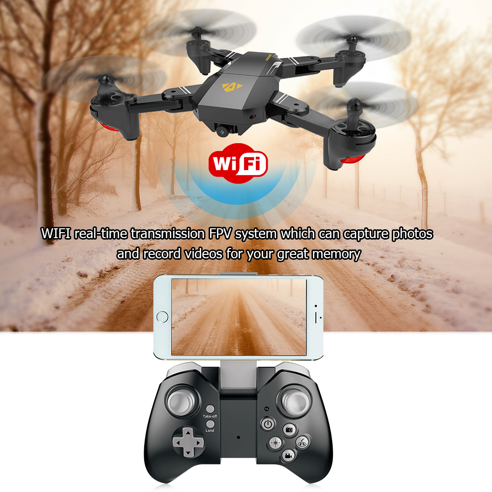 Get $5  Off For VISUO XS809W Wifi FPV 0.3MP Camera Foldable 2.4G 6-Axis Gyro Selfie Drone RC Quadcopter G-Sensor RTF with code   Only $37.72 +free shipping