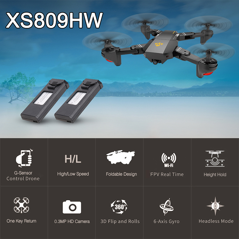Only 39.99$ for VISUO XS809HW Wifi FPV 0.3MP Camera Foldable Selfie Drone with Extra Battery
