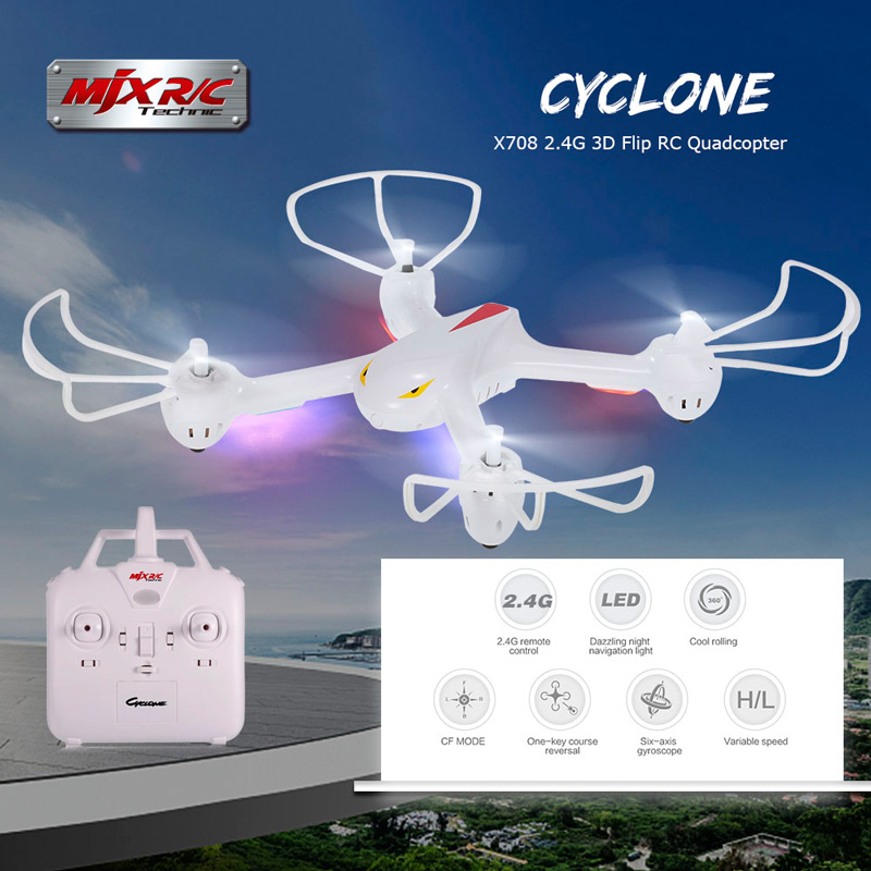 $35.99 For MJX X708 2.4G 6 Axis Gyro 3D Flip Headless One Key Return RC Drone with code EDM8075