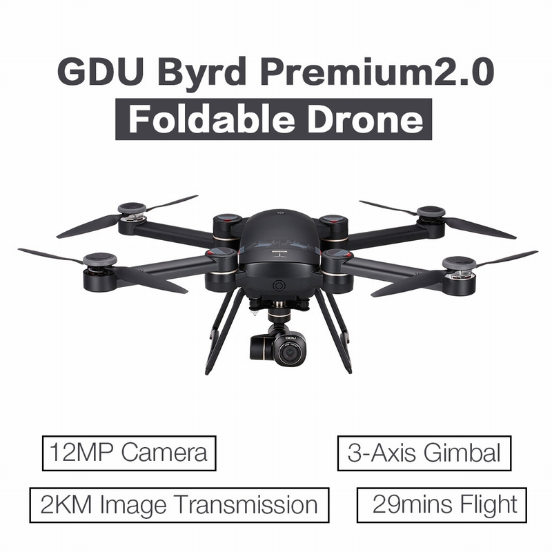 100$ off GDU Byrd Premium2.0 12MP HD Camera 4K Brushless 2KM FPV GPS drone shipped $999.99