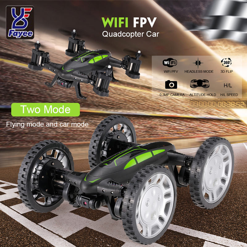 Get  $5  Off For Fayee  0.3MP Camera Wifi FPV Drone 2.4G Air-Ground Car Altitude Hold Headless Mode G-sensor Quadcopter with code   Only $42.99 +free shipping