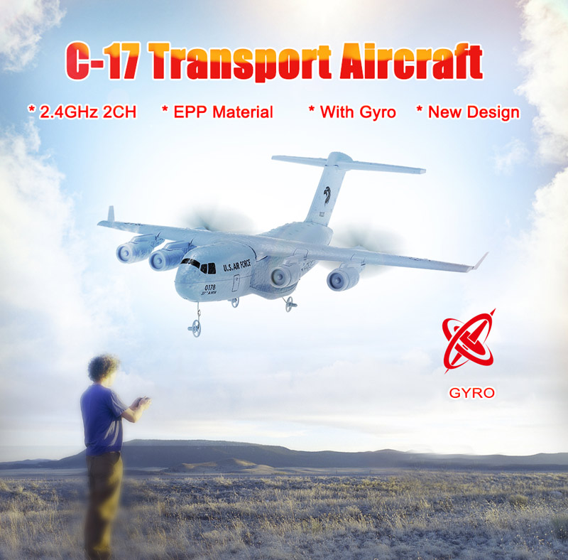 Get $3.1 off  For C-17 2.4GHz 2CH 373mm Wingspan RC Airplane Transport Aircraft EPP with Gyro RTF with code  Only $22 +free shipping