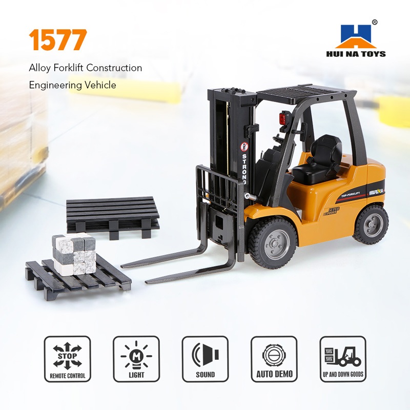 Get 20$ off  HUI NA TOYS 1577 2.4G 8CH 1/10 Alloy Forklift Construction Engineering Vehicle Toy Gift