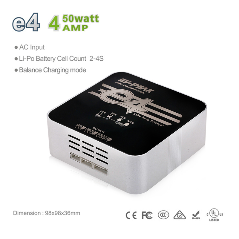 $5 OFF EV-PEAK e4 50W 4A 2-4S AC100-240V Charger,free shipping $22.99