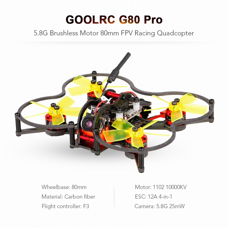 Get $10 Off For GoolRC G80 Pro 80mm 5.8G 48CH Micro FPV Racing Drone Brushless Motor Quadcopter F3 Flight Controller ARF with code  Only $99.99 +free shipping