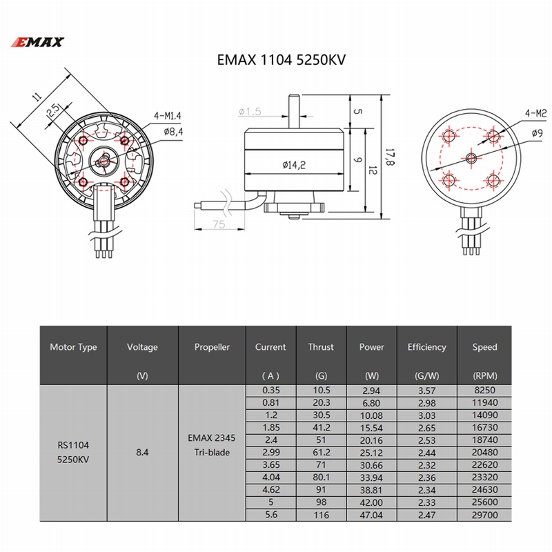 RM8595 1 4pcs original emax rs1104 5250kv brushless motor for babyhawk tiny Basic Electrical Wiring Diagrams at gsmportal.co