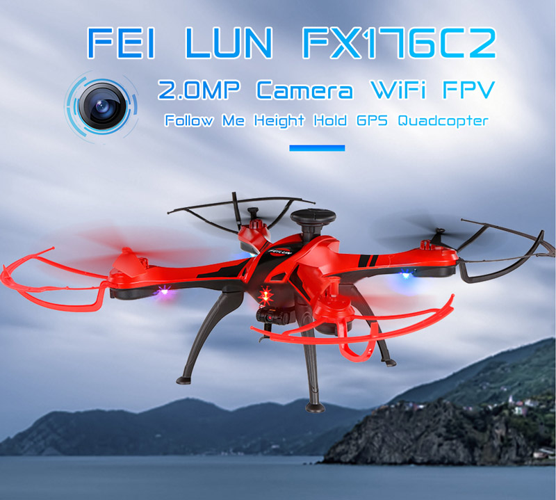 Only 85.99$ for FEI LUN  2.4G 4CH 2.0MP Camera WiFi FPV Drone Follow Me GPS