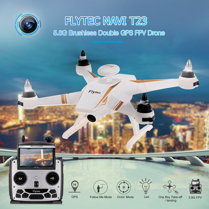 Get 20$ off  Flytec Navi T23 Brushless Double GPS 1080P HD Camera 5.8G FPV Drone Follow Me