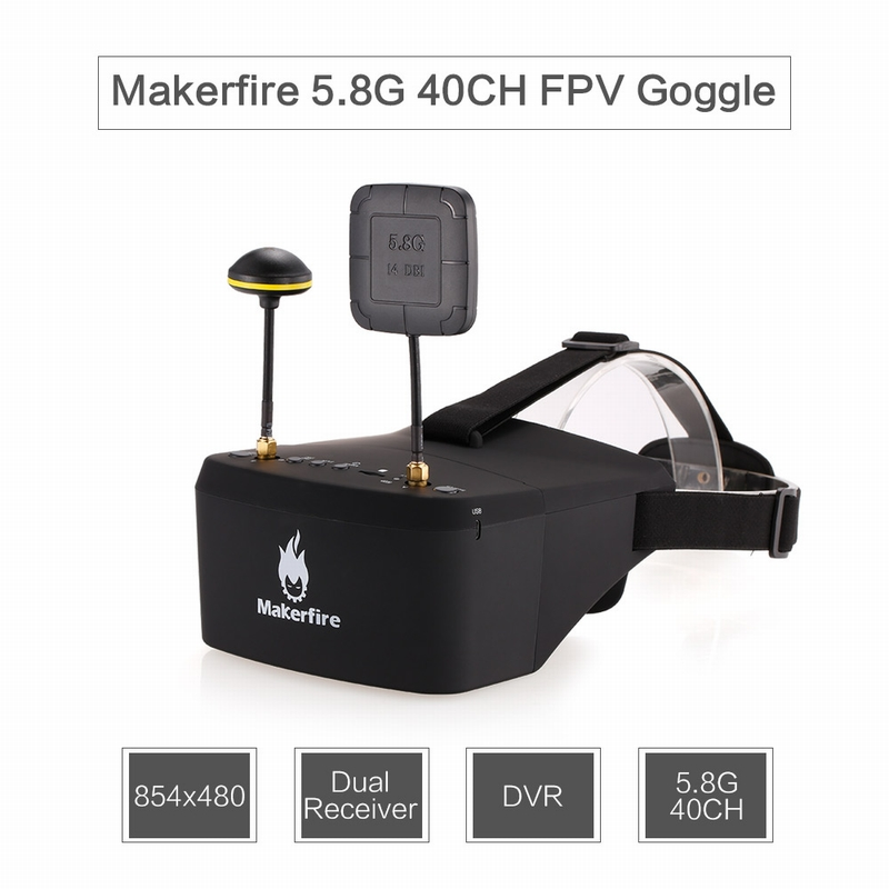 $4 OFF Makerfire EV800D 5.8G FPV Goggles,free shipping $79.99