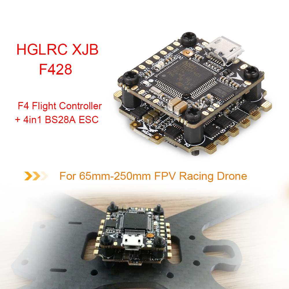 HGLRC XJB F428 2-4S 20*20MM OMF4-OSD Micro F4 Flight Controller with 4in1  28A Blheli_S ESC FPV Racing Drone - RcMoment com