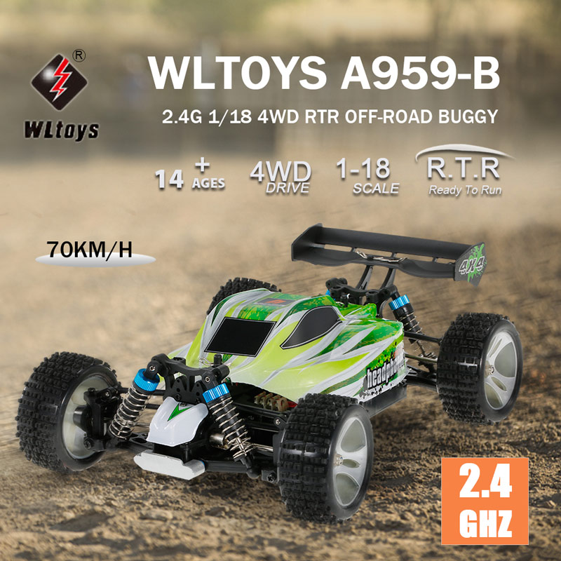 Get $8 Off For WLtoys A959-B 2.4G 1/18 Scale 4WD 70KM/h High Speed Electric RTR Off-road Buggy RC Car with code  Only $61.99 +free shipping