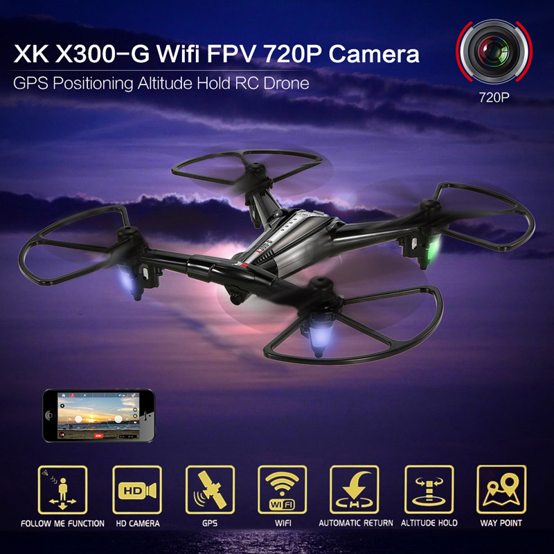 Get 10$ off  XK X300-G Wifi FPV 720P Camera GPS Positioning Altitude Hold RC Drone