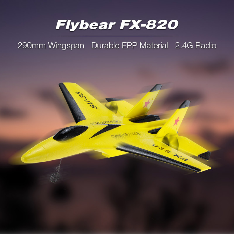 Get $4  Off For Flybear FX-820 2.4G 2CH Remote Control SU-35 Glider 290mm Wingspan EPP Micro Indoor RC Airplane Aircraft RTF with code  Only $27.99 +free shipping