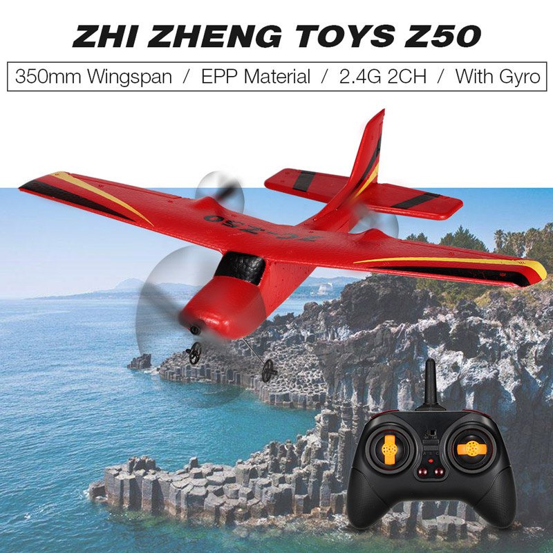 Get $4  Off For ZHI CHENG TOYS Z50 2.4G 2CH Remote Control Glider 350mm Wingspan EPP Micro Indoor RC Airplane Aircraft with Gyro RTF with code  Only $23.99 +free shipping