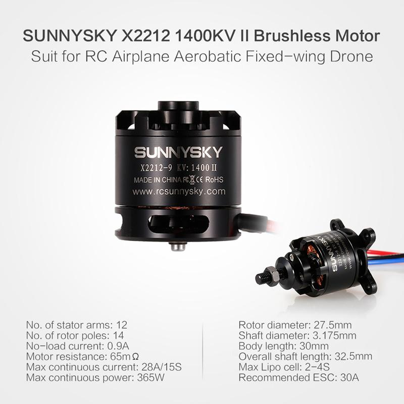 SUNNYSKY X2212 1400KV II 2-4S Brushless Motor Short Shaft for RC Airplane  Aerobatic Fixed-wing Drone - Rcmoment com