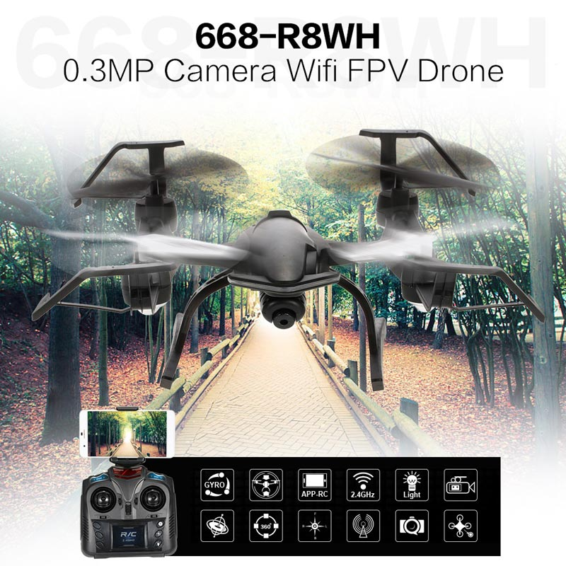 59.99$ for  668-R8WH 2.4G 4CH 1080P Camera Wifi FPV Drone Altitude Hold One Key Return