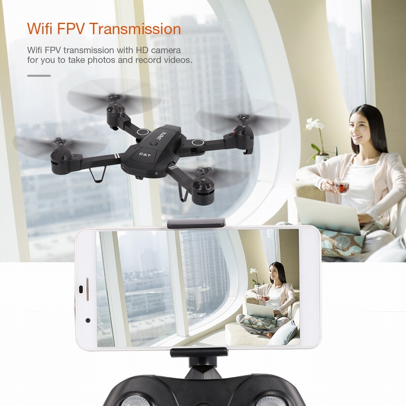 Get $3 Off For C&T T3505W 6-Axis Gyro WIFI FPV 720P Camera Quadcopter Foldable G-sensor RC Selfie Drone RTF with code  Only $42.99 +free shipping