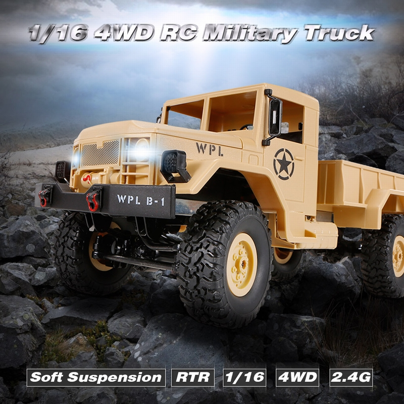34.99$ for WPL B-1 1/16 2.4G 4WD Off-Road RC Military Truck Rock Crawler Army Car