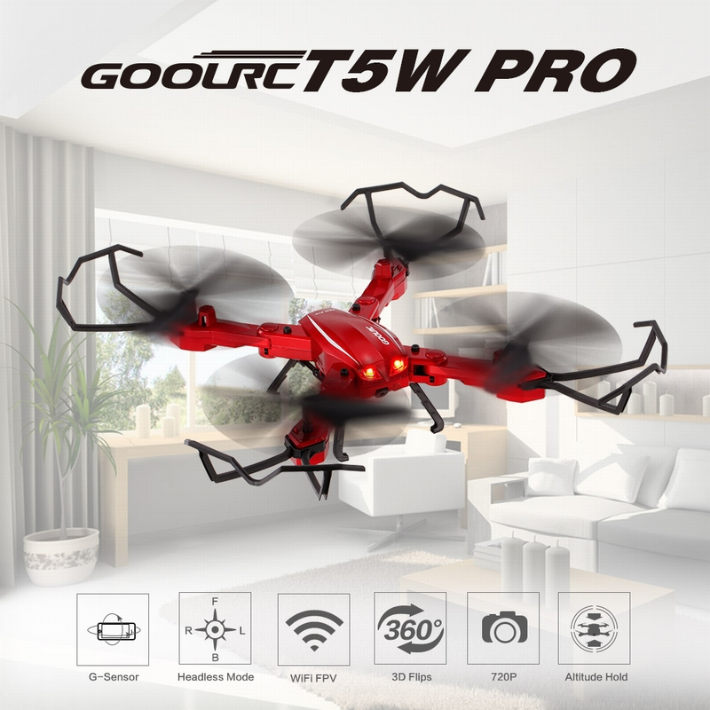 Get $6 Off For GoolRC T5W PRO 2.4G 4CH 720P HD Camera Wifi FPV Foldable RC Quadcopter Selfie Drone One-key Return Altitude Hold Two Battery with code EJ9086 Only $45.99 +free shipping
