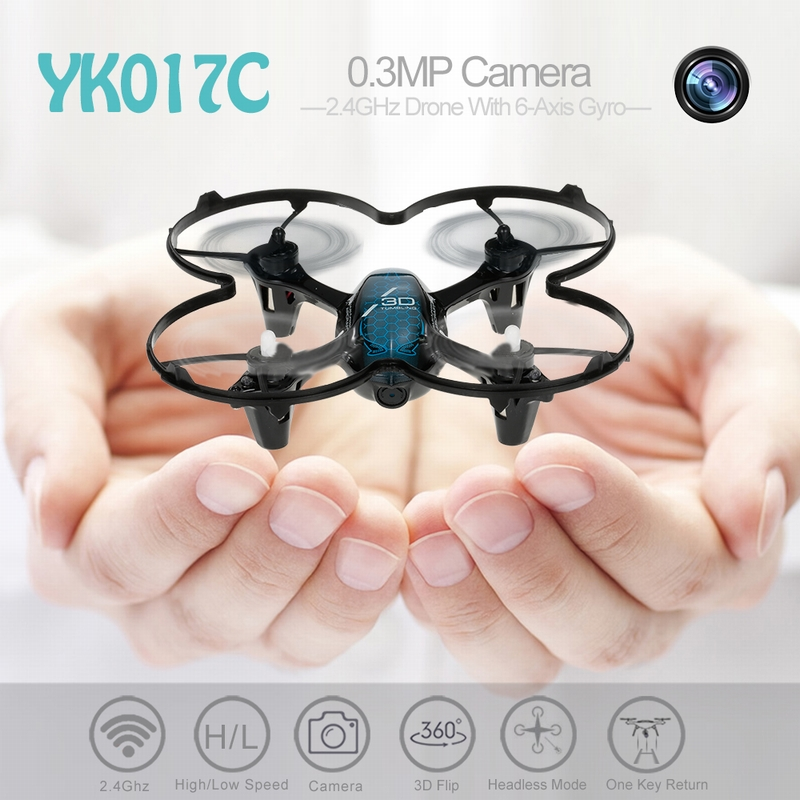 Get $6  Off For YK017C 2.4G 4CH 0.3MP Camera Selfie Drone RC Quadcopter RTF 3D Flip Headless Mode One-key Return with code  Only $31.99 +free shipping