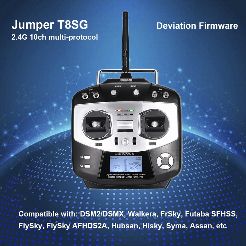 Get $15 Off For Jumper T8SG Multi-Protocol 2.4G 10CH Compact Transmitter for Flysky Frsky DSM2 Walkera Devo Futaba  with code  Only $80.99 +free shipping
