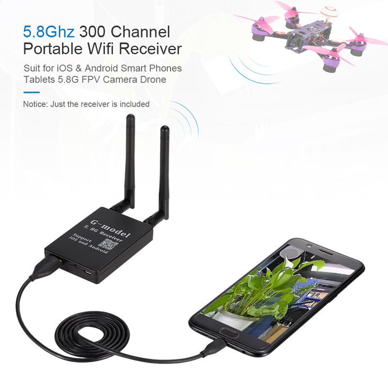 G-model 5 8Ghz 300 Channel Portable Wifi Transmission Receiver for iOS &  Android Smart Phones Tablets FPV Camera Drone - RcMoment com