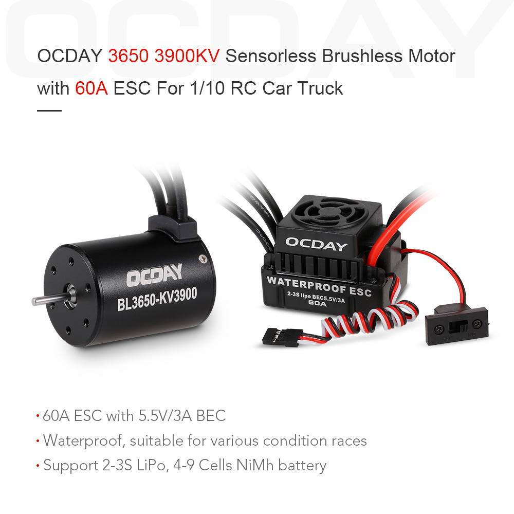 Ocday 3650 3900kv Brushless Sensorless Motor With 60a
