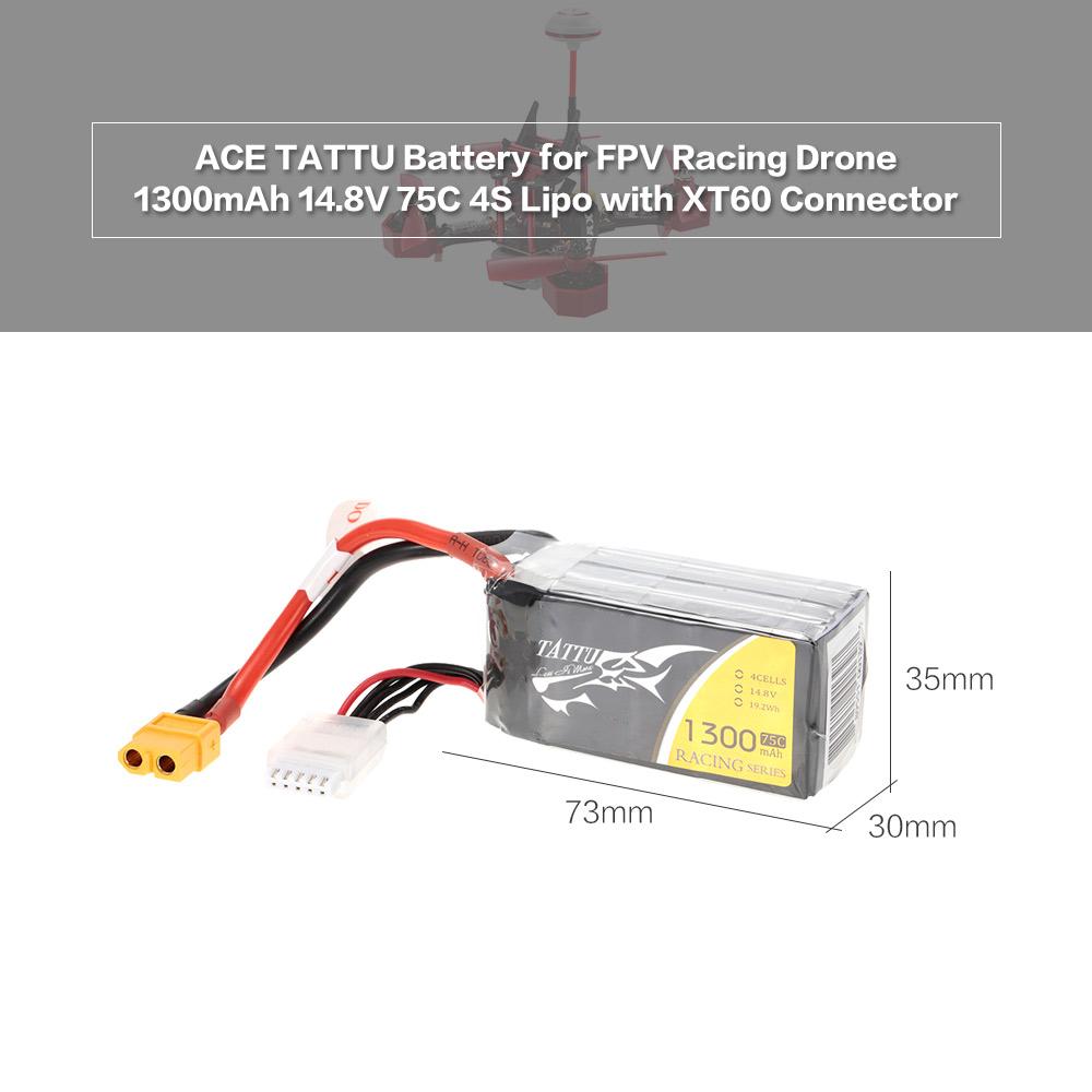 Ace Tattu 1300mah 14 8v 75c 4s1p 4s Lipo Battery With Xt60
