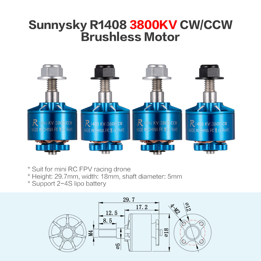 Get 6$ off 4pcs Sunnysky  1408 3800KV 2-4S CW/CCW Brushless Motor Kit for RC Racing Drone Quadcopter