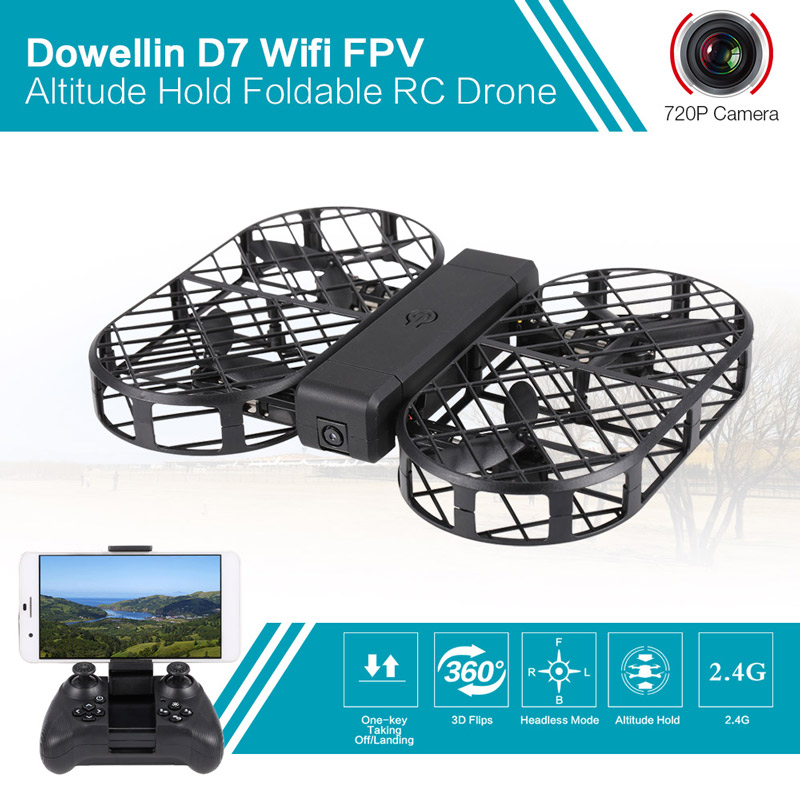 Only 39.99$ for DWi Dowellin D7 Wifi FPV 720P Camera 2.4G Foldable Protector Ring Altitude Hold RC Quadcopter