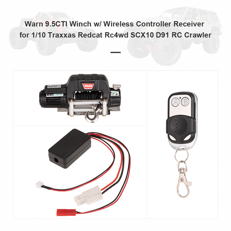 Warn 9 5CTI Winch w/ Wireless Remote Controller Receiver for 1/10 Traxxas  Hsp Redcat Rc4wd Tamiya Axial SCX10 D91 Hpi RC Crawler