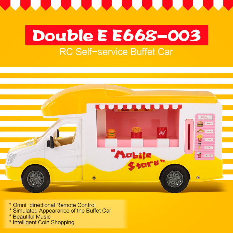 Get $4 Off For Double E E668-003 2.4G 1/18 RC Mobile Store Self-service Buffet Car  with code   Only $38.99 +free shipping