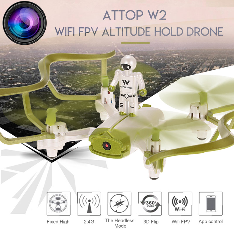 Get 5$ off  for Attop W2 0.3MP Camera Wifi FPV Drone  Only 41.99$ with code  +