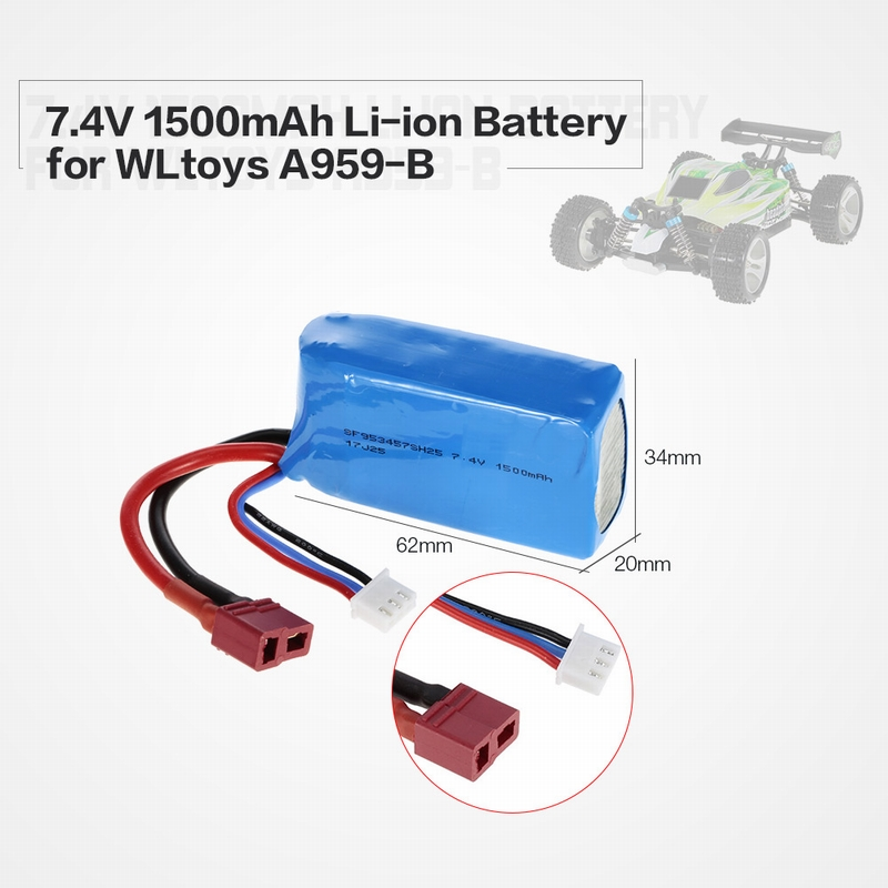 Only 13.99$ for 7.4V 1500mAh LiPo Rechargeable Battery for WLtoys A959-B A979-B car