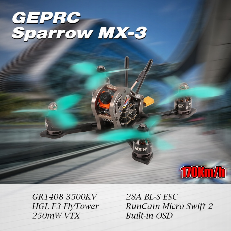 Get $14 off For GEPRC Sparrow 139mm MX-3 Micro 5.8G HD Camera High Speed 170Km/h Brushless FPV Racing Quadcopter BNF with FrSky Receiver with code  Only $245.9914 +free shipping