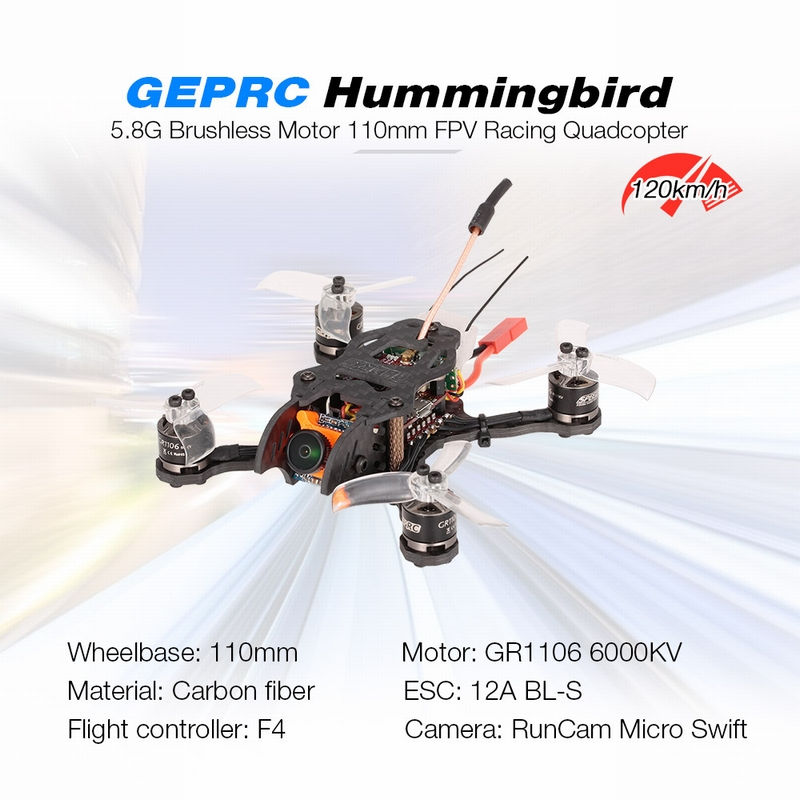 Get $10 off For GEPRC Hummingbird 5.8G 200mW Brushless 110mm Mini Micro FPV Racing Quadcopter RC Drone BNF with FrSky Receiver  with code  Only $199.99 +free shipping