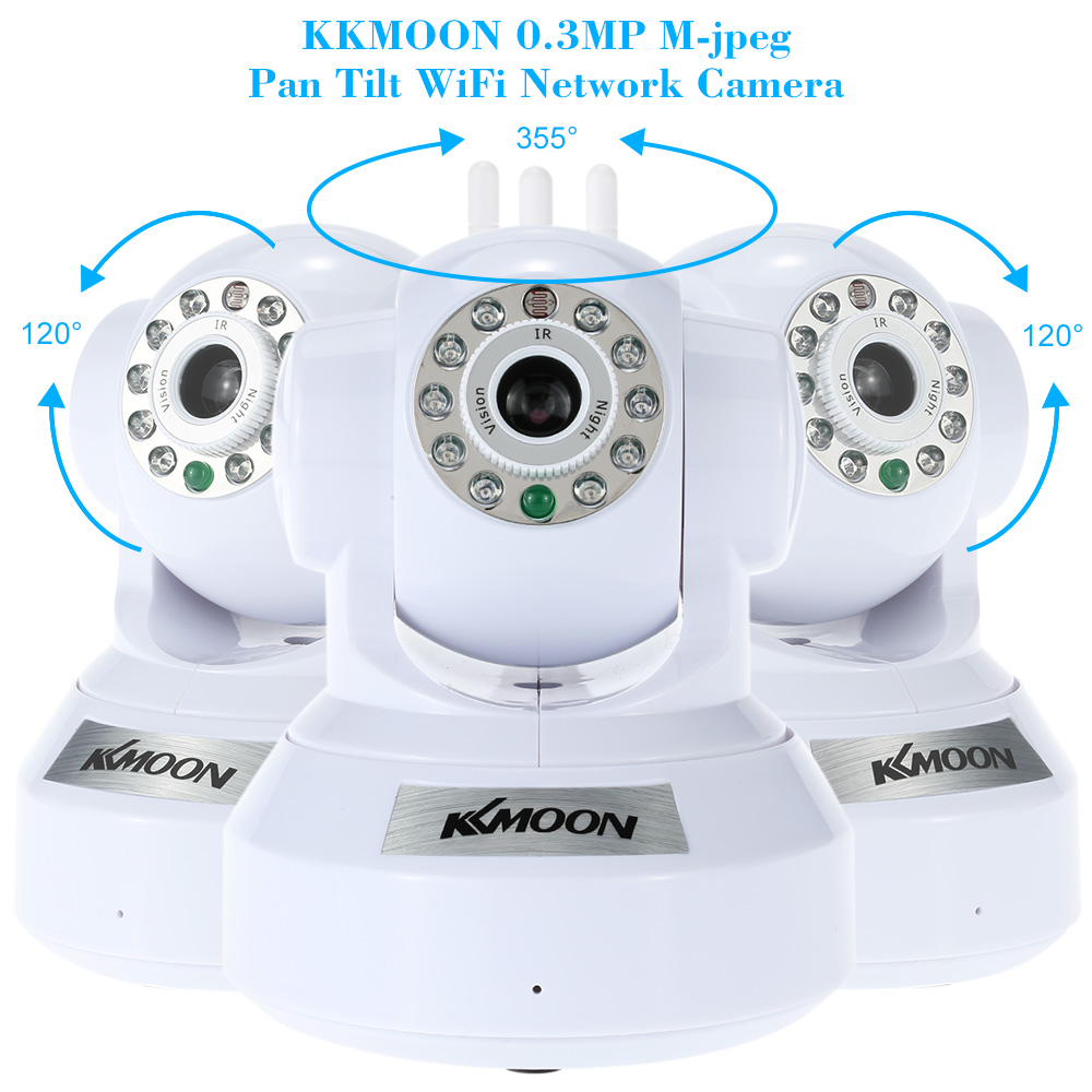 KKmoo Wireless IP Camera PnP P2P Pan Tilt IR WiFi Network IP Webcam White D2D2   eBay