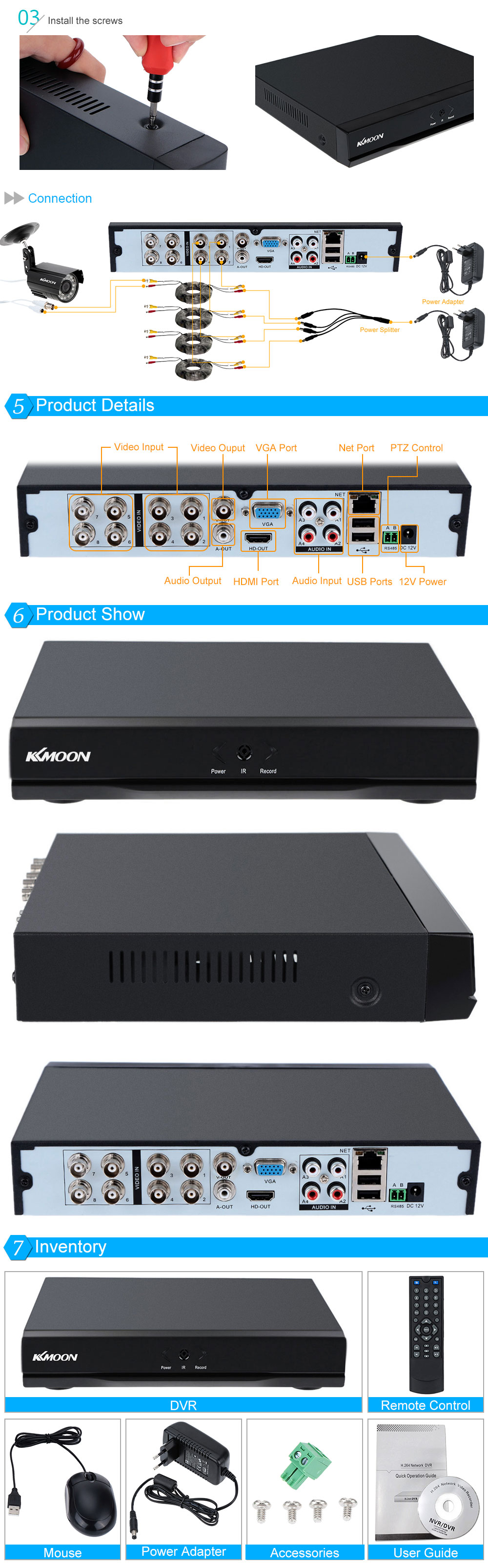 KKmoon 8 Channel 960H D1 CCTV Network DVR H 264 HDMI Video Playback  Security Monitoring