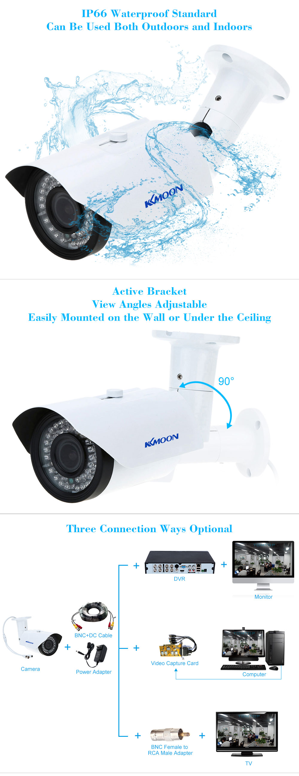Kkmoon Tp W225bk 28 12mm 1200tvl 1 3 Sony 42ir Outdoor Waterproof Hd Diagram Camera Wiring Cctv This Item Is Equipped With Cmos Sensor 42pcs Ir Leds Manual Vari Focal Lens Horizontal Resolution Which Can Produces A Better