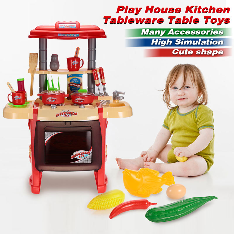 Kids Kitchen Toys Set Play House Tableware Table