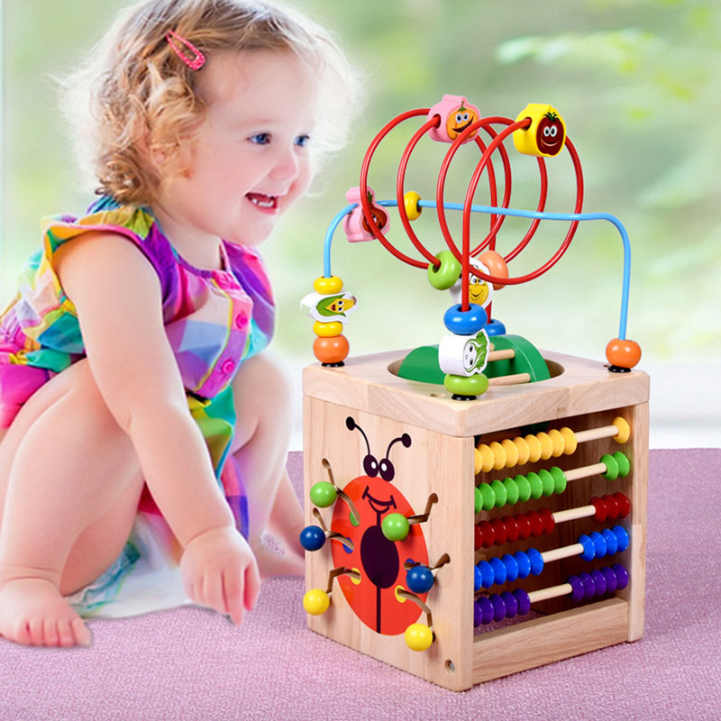 6 in 1 Wooden Bead Maze Activity Cube Multipurpose Wood Toys for Kids