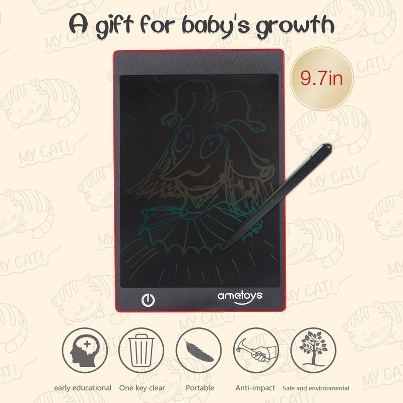 $4 OFF Ametoys 9.7-Inch LCD Writing Tablet Drawing colorful,free shipping $17.99