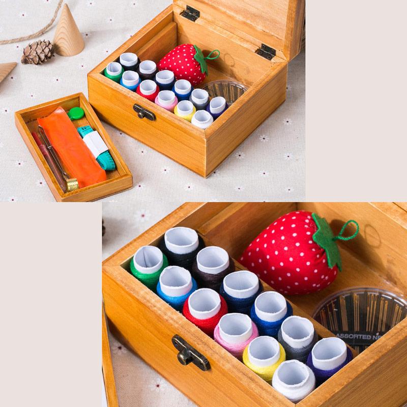 Panier de couture en bois bo te couture avec kit de for Boite a couture avec accessoires