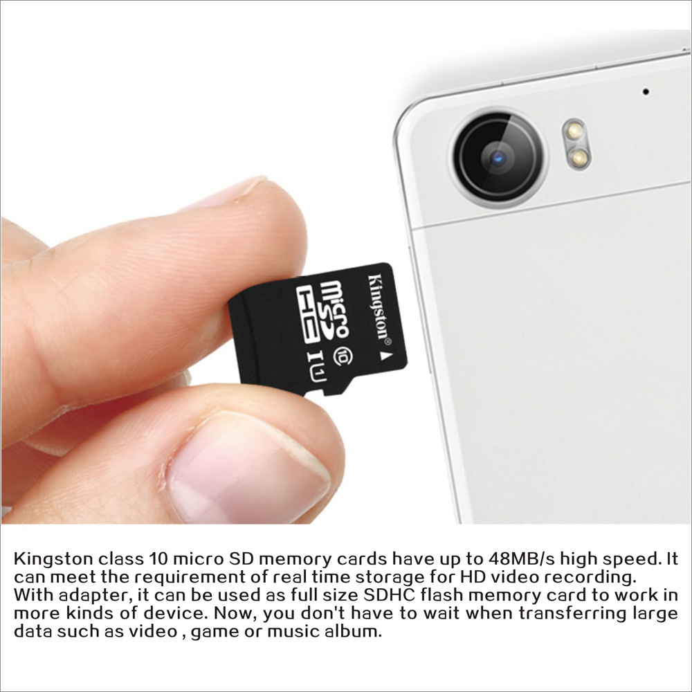 Kingston Class 10 8gb 16gb 32gb 64gb Microsd Tf Flash Memory Card Sd Sandisk 48mb S Maximal Speed With Adapter Sales Online 64g Tomtop